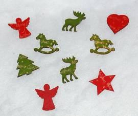Streufiguren rot und grün, 6 Stück im Set - Bild vergrößern