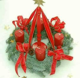 Adventskranz Rot für Adventskranzständer, Landhausstil - Bild vergrößern