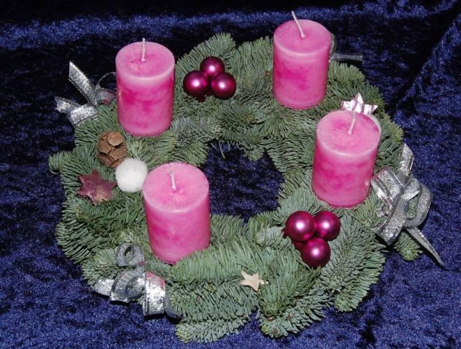 adventskranz rosa pink naturtanne weihnachtsgeschenk. Black Bedroom Furniture Sets. Home Design Ideas