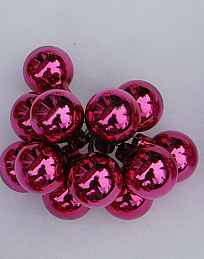 Glaskugeln, Spiegelbeeren, pink, glanz, 12 Stück, 2,5 cm Durchmesser